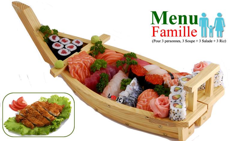 <b>MENU FAMILLE</b>  3 Soupe,3 salade,3 riz |10 Sushi(2 thon,2 saumon,2 crevettes,2 daurade,2 oeufs de saumon)12 Maki(6 california maki,6 saumon)28 Assortiment de sashimi(10 saumon,10 thon,8 daurade)Beignet de poulet avec rizdessert au choix:(Lychee ou nougat ou perle de coco a la vapeur ou 2 boules de glaces) |   <b>55,00 €</b>